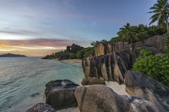 Romantic sunset in paradise, anse source d`argent, la digue, sey Royalty Free Stock Photography