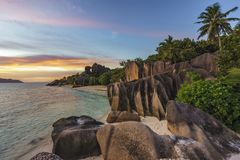 Romantic sunset in paradise, anse source d`argent, la digue, sey Stock Photo