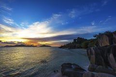 Romantic sunset in paradise, anse source d`argent, la digue, sey Stock Images