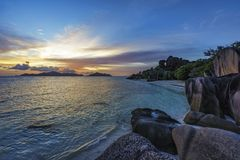 Romantic sunset in paradise, anse source d`argent, la digue, sey Royalty Free Stock Photos