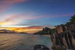 Romantic sunset in paradise, anse source d`argent, la digue, sey Stock Image
