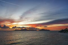 Romantic sunset in paradise, anse source d`argent, la digue, sey Royalty Free Stock Image