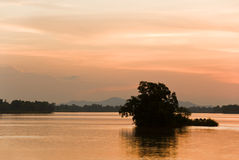 Romantic sunset on a river Stock Images