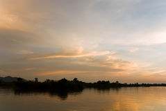Romantic sunset on a river Royalty Free Stock Images