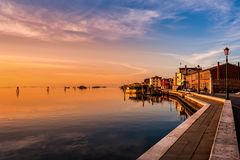 Romantic sunset on the Venice lagoon. Island of Pellestrina. Stock Photography