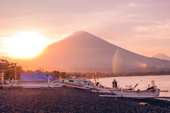 Romantic sunset with volcano view Stock Images
