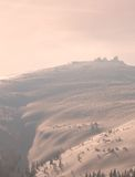 Romantic sunset in winter mountains royalty free stock image