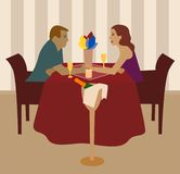 Romantic supper. Two people in love have romantic supper Stock Images