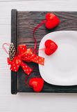 Romantic supper. Valentine day,romantic supper.plate,fork and knife Royalty Free Stock Image