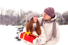 Romantic surprise. Men / boy gifts gift box for women / girl in Royalty Free Stock Image