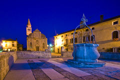 Romantic Svetvincenat square. Old town Svetvincenat at dusk with the lights turned on Royalty Free Stock Image