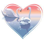 Romantic swans couple, sunset in a heart shape. Vector illustration. Beautiful swans swimming in a lake. For Wedding invitation royalty free illustration
