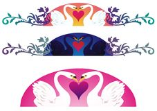 Romantic Swans. Two swans in love with decorations, three variations Royalty Free Stock Photo
