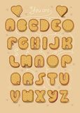 Romantic sweet cipher text. You are my cookie. Artistic alphabet with encrypted romantic message You are my cookie. Cartoon yellow letters as sweet biscuits Royalty Free Stock Photo
