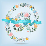 Romantic Symbol At with Flowers, Banner and Text Royalty Free Stock Images