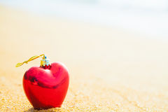 Romantic symbol of  heart on the beach Stock Images