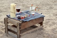 romantic table on the beach Stock Images