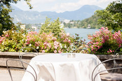 Romantic table on beatiful terrace royalty free stock photography