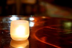 Romantic Table Candle Stock Photography