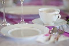 Romantic table dishes decoration Stock Photo