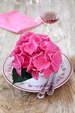 Romantic table with flower hydrangea Stock Photos