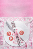 Romantic table place setting with sign decoration and message with love and for you on pink background, top view Stock Images