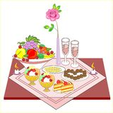 Romantic table set for two lovers. Delicious wine, sweets, sweets, fruits - all for a wonderful mood. Burning candles create a vector illustration