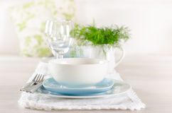 Romantic table set up for two Royalty Free Stock Image