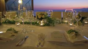 Romantic table setting stock footage