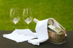Romantic table setting outside stock photography
