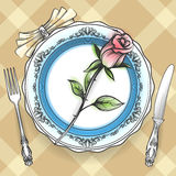 Romantic table setting with rose. Romantic table setting with plate cutlery napkin and rose on Scottish cell cloth. Vector illustration vector illustration
