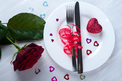 Romantic table setting  with rose Royalty Free Stock Image