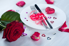 Romantic table setting  with rose Stock Image