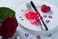 Romantic table setting  with rose Stock Images
