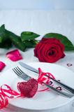 Romantic table setting  with rose Royalty Free Stock Photos