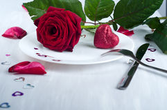Romantic table setting  with rose Stock Photography