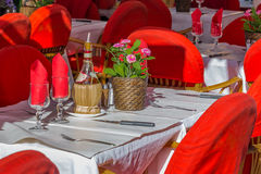 Romantic table setting at a street restaurant in Nice France Stock Photos