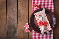 Romantic table setting for Valentines day in a rustic style. Top view Stock Images