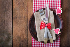 Romantic table setting for Valentines day in a rustic style. Top view Royalty Free Stock Photo
