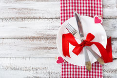 Romantic table setting for Valentines day in a rustic style. Top view Stock Photography