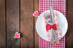 Romantic table setting for Valentines day in a rustic style. Top view Royalty Free Stock Photography