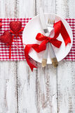 Romantic table setting for Valentines day in a rustic style. Top view Royalty Free Stock Images