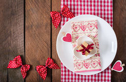 Romantic table setting for Valentines day in a rustic style. Stock Images