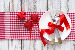 Romantic table setting for Valentines day in a rustic style. Top view Stock Image