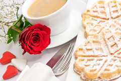 Romantic Table Setting With A Single Red Rose Stock Images