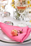 Romantic table settings Stock Photos