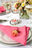 Romantic table settings Stock Photo