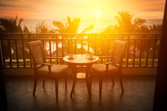 Romantic table on terrace Royalty Free Stock Images