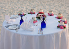 Romantic table for two. On beach Stock Image