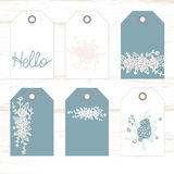 Romantic tags collection  with flowers, lettering.  Set tags of  holiday invitations. Chebbi chic. Vector hand drawn set.  Romantic tags collection  with flowers Stock Photo
